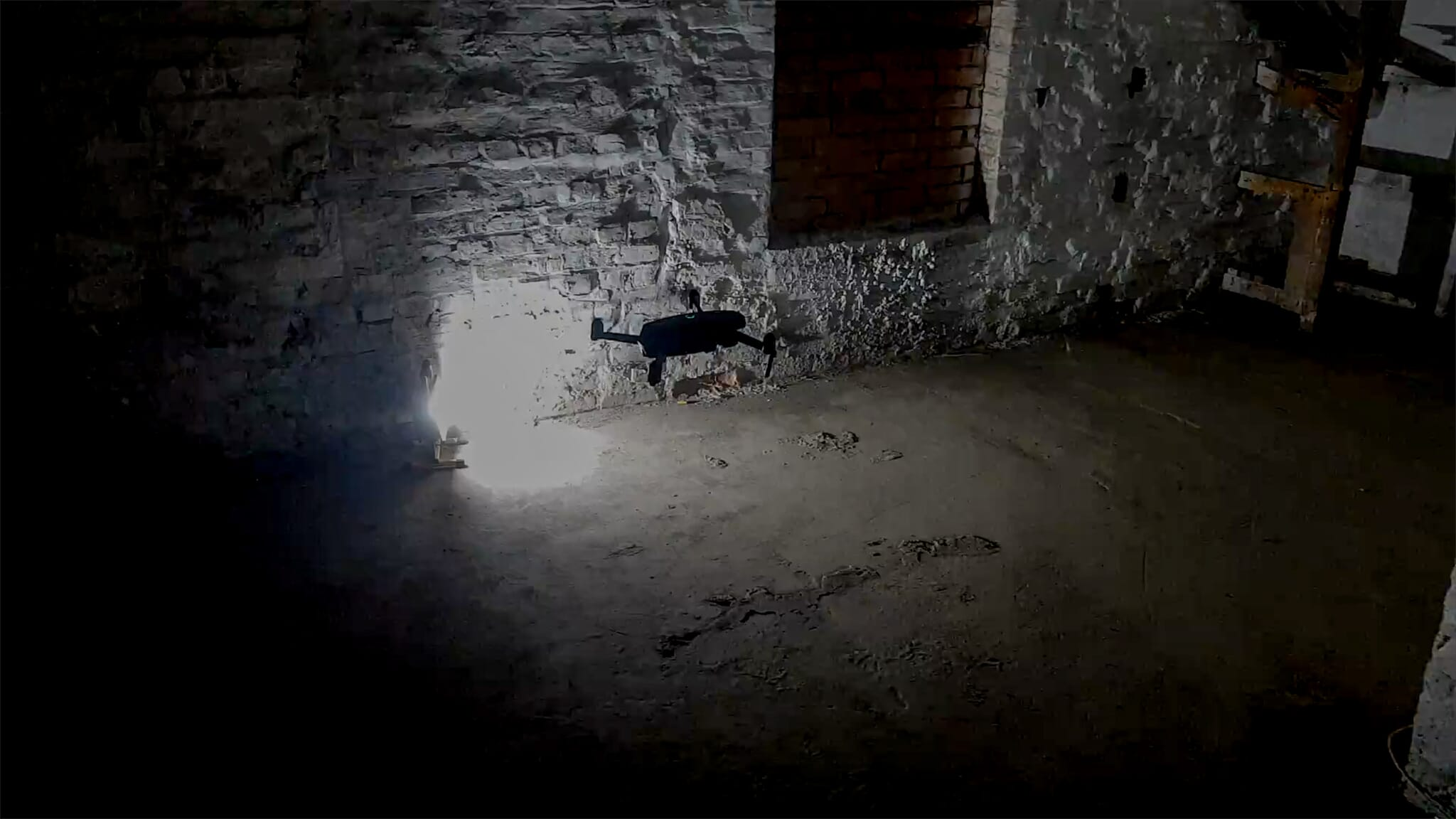 Drone filming in dark tunnels in The Granville Hotel